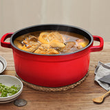 SOGA Cast Iron Stewpot Casserole Stew Cooking Pot With Lid 3.6L Black 24cm
