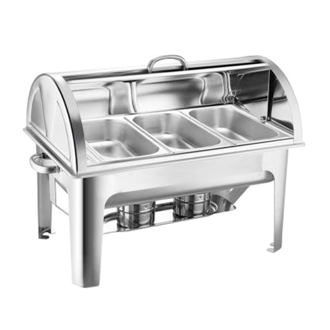 SOGA Stainless Steel Roll Top Chafing Dish 3*3L Three Trays Food Warmer