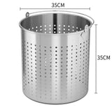 SOGA 2X 33L 18/10 Stainless Steel Perforated Stockpot Basket Pasta Strainer with Handle