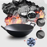 SOGA 2X 32cm Commercial Cast Iron Wok FryPan Fry Pan with Double Handle