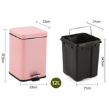 SOGA Foot Pedal Stainless Steel Rubbish Recycling Garbage Waste Trash Bin Square 12L Pink