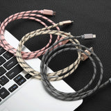 Android 1.5M MFI Metal Braided Lightning USB Cable Grey