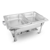 SOGA Stainless Steel Chafing Food Warmer Catering Dish 2x4.5L Dual Trays