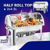 SOGA 4X 4.5L Dual Tray Stainless Steel Roll Top Chafing Dish Food Warmer