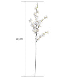 SOGA 51cm Blue Glass Tall Floor Vase and 10pcs White Artificial Fake Flower Set