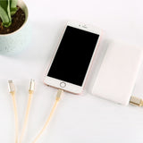 3 in 1 Micro Usb Lightning Type C Date Charge Sync Cable Gold For iPhone Samsung