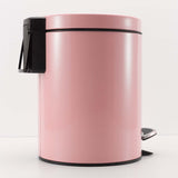 Foot Pedal Stainless Steel Rubbish Recycling Garbage Waste Trash Bin Round 12L Pink