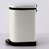 SOGA Foot Pedal Stainless Steel Rubbish Recycling Garbage Waste Trash Bin 10L U White