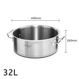 SOGA Stock Pot 32L Top Grade Thick Stainless Steel Stockpot 18/10 Without Lid