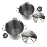 SOGA Stock Pot 12L 25L Top Grade Thick Stainless Steel Stockpot 18/10