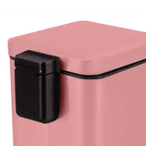 SOGA 2X Foot Pedal Stainless Steel Rubbish Recycling Garbage Waste Trash Bin Square 12L Pink