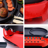 SOGA 2X 2 in 1 BBQ Electric Pan Grill Teppanyaki Stainless Steel Hot Pot Steamboat Red