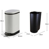 2X Foot Pedal Stainless Steel Rubbish Recycling Garbage Waste Trash Bin U White 10L