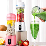 SOGA 380ml Portable Mini USB Rechargeable Handheld Fruit Mixer Juicer White