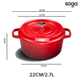 SOGA Cast Iron Enamel Porcelain Stewpot Casserole Stew Cooking Pot With Lid 2.7L Red 22cm