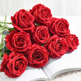 SOGA 10pcs Artificial Silk Flower Fake Rose Bouquet Table Decor Red
