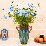 SOGA Blue European Colored Glass Home Decor Jar Flower Vase with Two Metal Handle