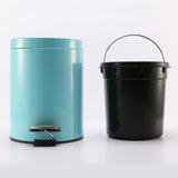 Foot Pedal Stainless Steel Rubbish Recycling Garbage Waste Trash Bin Round 7L Blue