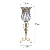 SOGA 85cm European Clear Glass Floor Home Decor Flower Vase with Tall Metal Stand