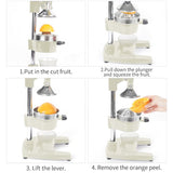 SOGA 2X Commercial Manual Juicer Hand Press Juice Extractor Squeezer Orange Citrus White