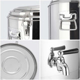 SOGA 12L Stainless Steel Insulated Stock Pot Dispenser Hot & Cold Beverage Container With Tap