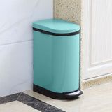 Foot Pedal Stainless Steel Rubbish Recycling Garbage Waste Trash Bin 10L U Blue