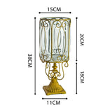SOGA European Clear Glass Cylinder Flower Vase Solid Base with Gold Metal Pattern