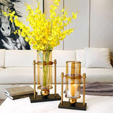 SOGA 32cm Modern Transparent Glass Flower Vase with Candle