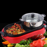 SOGA 2 in 1 BBQ Electric Pan Grill Teppanyaki Stainless Steel Hot Pot Steamboat Red
