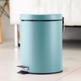 SOGA Foot Pedal Stainless Steel Rubbish Recycling Garbage Waste Trash Bin Round 7L Blue