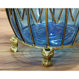 SOGA 51cm Blue Glass Oval Floor Vase with Metal Flower Stand