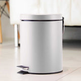 2X Foot Pedal Stainless Steel Rubbish Recycling Garbage Waste Trash Bin Round 12L White