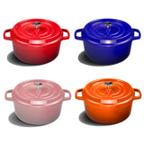 Cast Iron Enamel Porcelain Stewpot Casserole Stew Cooking Pot With Lid 3.6L Pink 24cm