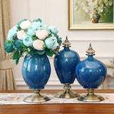 SOGA 38cm Ceramic Oval Flower Vase with Gold Metal Base Dark Blue