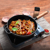 SOGA 27cm Round Cast Iron Frying Pan Skillet Steak Sizzle Platter with Helper Handle