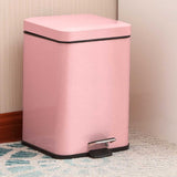 SOGA 2X Foot Pedal Stainless Steel Rubbish Recycling Garbage Waste Trash Bin Square 6L Pink