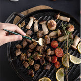 SOGA 28cm Ribbed Cast Iron Frying Pan Skillet Coating Steak Sizzle Platter