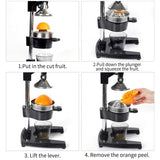SOGA Commercial Manual Juicer Hand Press Juice Extractor Squeezer Orange Citrus Black