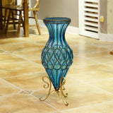 SOGA 65cm Blue Glass Tall Floor Vase with Metal Flower Stand