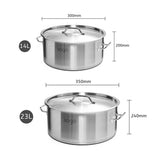 SOGA Stock Pot 14L 23L Top Grade Thick Stainless Steel Stockpot 18/10