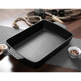 SOGA 2X 38cm Cast Iron Rectangle Bread Cake Baking Dish Lasagna Roasting Pan