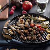 SOGA 2X 30cm Ribbed Cast Iron Frying Pan Skillet Steak Sizzle Platter