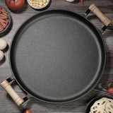 SOGA 2X 31cm Cast Iron Frying Pan Skillet Steak Sizzle Fry Platter With Wooden Handle No Lid