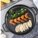 SOGA Cast Iron Frying Pan Skillet Non-stick Coating Steak Sizzle Platter 35cm