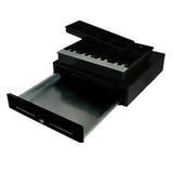 Black Heavy Duty Cash Drawer Electronic 4 Bills 8 Coins Cheque Slot Tray Pos 410