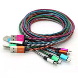 Durable 1.5 Meter Nylon Micro USB Cable for Android 2.0A Copper Cord in 5 Colours