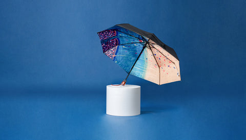 Premium Art Umbrella from Sweden / Design paraply från Stockholm / online product available / free delivery / GOLDEN TREE - compact Art Umbrella, present box - zontjkdesign