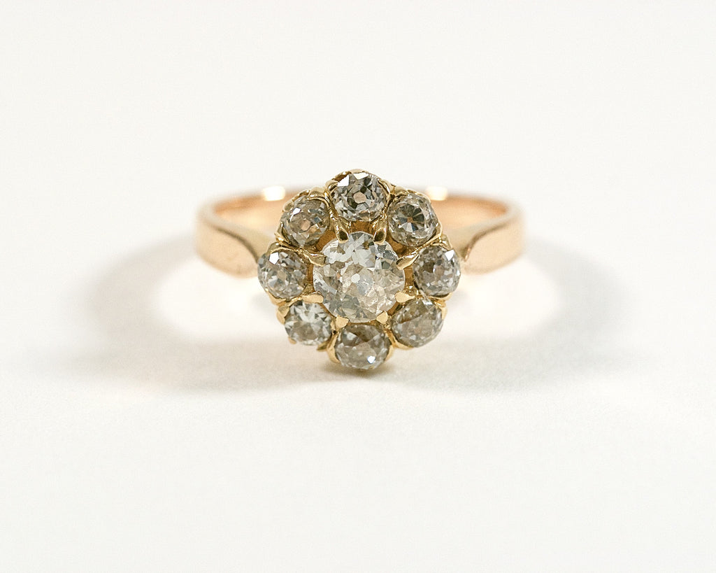 Bague marguerite or jaune et diamant