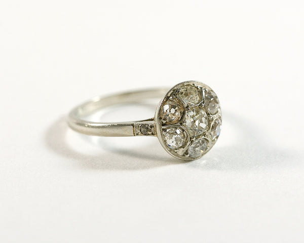 Bague marguerite or gris et diamant