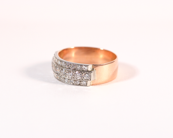 Bague bandeau pavage diamants